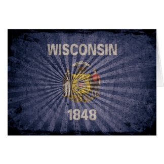 Cool Grunge Wisconsin Flag Card