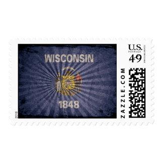 Cool Grunge Wisconsin Flag Stamp