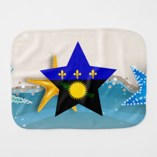 Cool Guadeloupe Flag at the Beach Burp Cloths