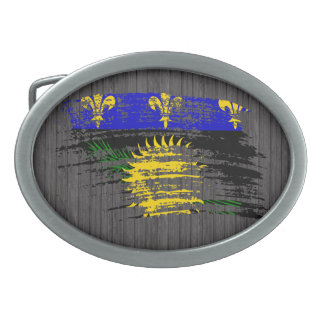 Cool  Guadeloupean flag design Oval Belt Buckles