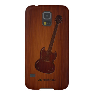 Cool Guitar with Custom Name & Luxury Rosewood Galaxy S5 Covers