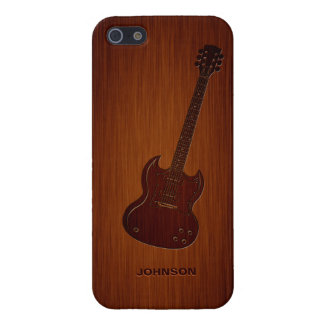 Cool Guitar with Custom Name & Luxury Rosewood iPhone 5 Cases