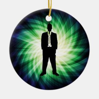 Cool Guy in Suit Silhouette Ceramic Ornament