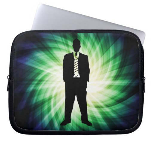 Cool Guy in Suit Silhouette Computer Sleeve
