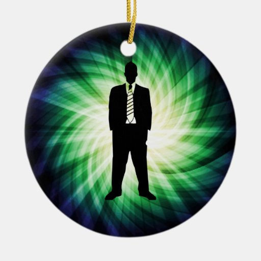 Cool Guy in Suit Silhouette Christmas Ornaments