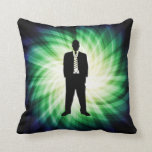 Cool Guy in Suit Silhouette Throw Pillow