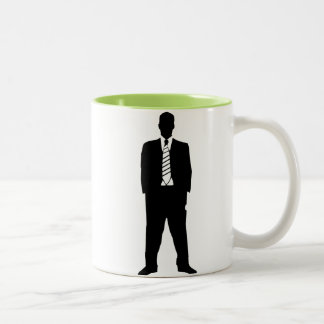 Cool Guy in Suit Silhouette Two-Tone Coffee Mug