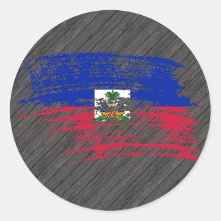 Cool Haitian flag design Classic Round Sticker