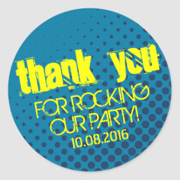 Cool Halftone Party Rock Sticker Yellow and Blue