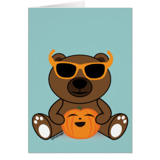 Cool Halloween bear with glasses holding pumpkin Cards