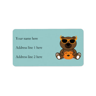 Cool Halloween bear with glasses holding pumpkin Address Label