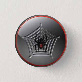 Cool Halloween Black Widow Spider on a Web Badge Pinback Button
