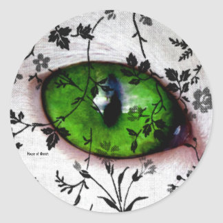 Cool Halloween Vintage Floral Eye of Cat Classic Round Sticker