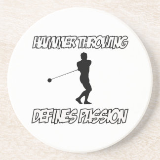 Cool hammer throwing designs coasters