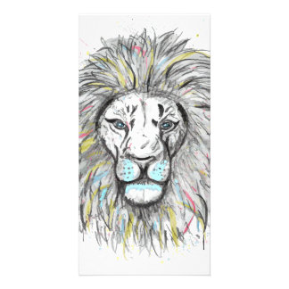 Cool hand drawn sketch and watercolor Lion design Card