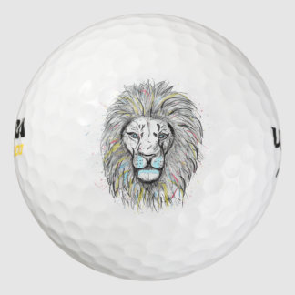 Cool hand drawn sketch and watercolor Lion design Golf Balls