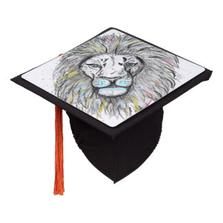 Cool hand drawn sketch and watercolor Lion design Graduation Cap Topper
