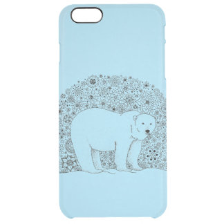 Cool Hand Illustrated Artsy Floral Polar Bear Clear iPhone 6 Plus Case