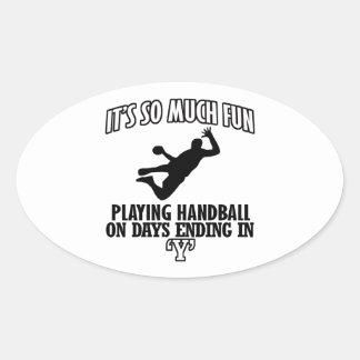 cool Handball DESIGNS Oval Sticker