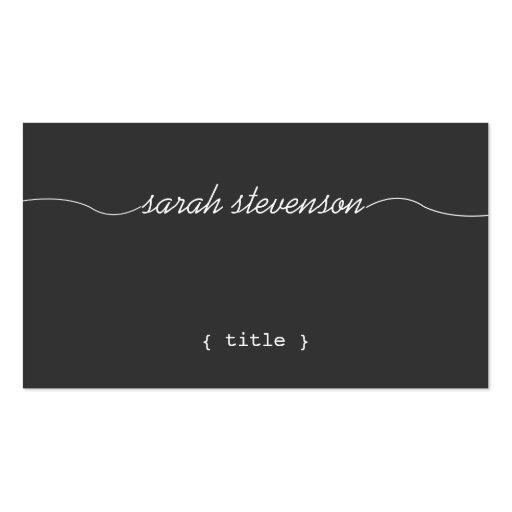 Cool, Handwritten Script, Simple Black Writer Business Card Template