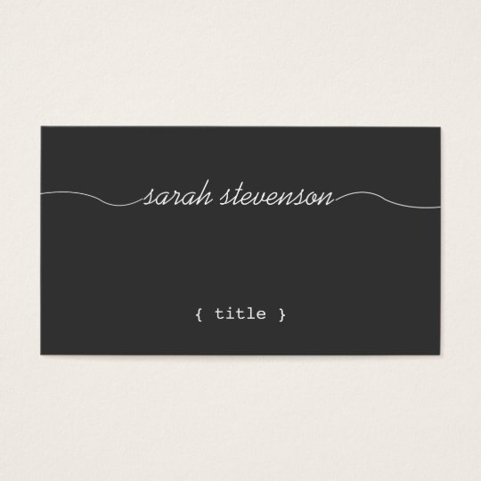 Cool, Handwritten Script, Simple Black Writer Business Card