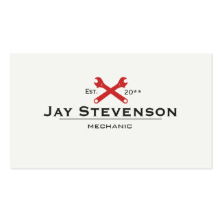Cool Handyman and Mechanic Red Wrench Double-Sided Standard Business Cards (Pack Of 100)