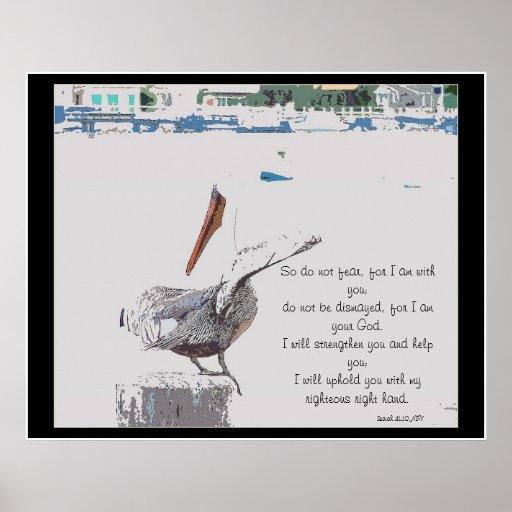 Cool Harbor Pelican Art & Isaiah 41:10 Print