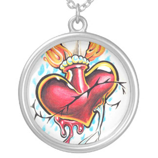 Cool Heart and Cross tattoo necklace