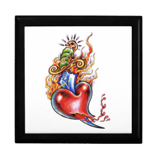 Cool Heart and Dagger in Flames tattoo Jewelry Box