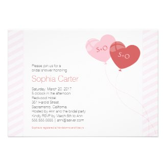 Cool Heart Balloons Bridal Shower Invitation