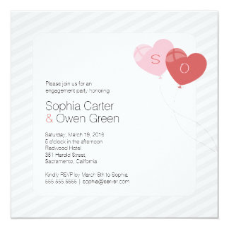 Cool Heart Balloons Square Engagement Invitation