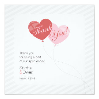 Cool Heart Balloons Square Wedding Thank You Card