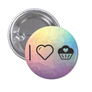 Cool Heart Cupcakes 1 Inch Round Button