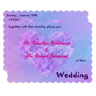 Cool Heart Design Purple Blue Wedding Invitation