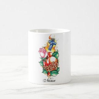 Cool Heart Rose and Cross tattoo mug