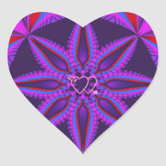 Cool heart shaped sticker fantasy flower & hearts