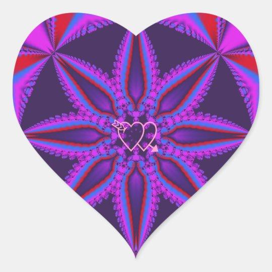 Cool heart shaped sticker fantasy flower & hearts
