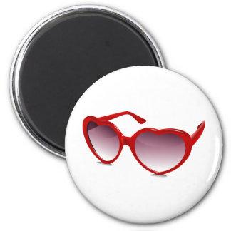 Cool heart shaped sunglasses design magnet