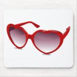 Cool heart shaped sunglasses design mouse pad