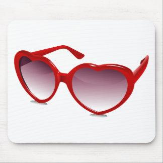 Cool heart shaped sunglasses design mousepad