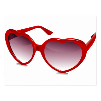 Cool heart shaped sunglasses design postcard