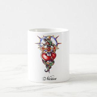 Cool Heart Sword and Snake tattoo mug