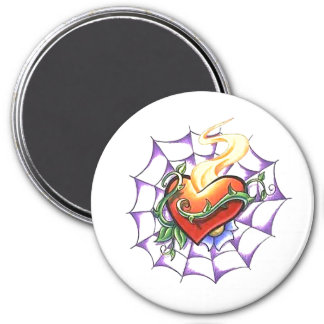 Cool Heart Thorn and Spider Web tattoo 3 Inch Round Magnet