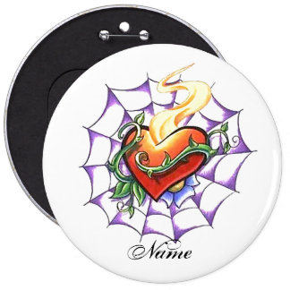 Cool Heart Thorn and Spider Web tattoo Button
