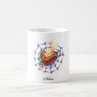 Cool Heart Thorn and Spider Web tattoo Coffee Mug