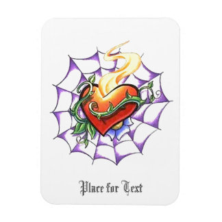 Cool Heart Thorn and Spider Web tattoo Rectangular Photo Magnet
