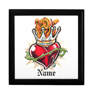 Cool Heart with Crown  tattoo  gift box
