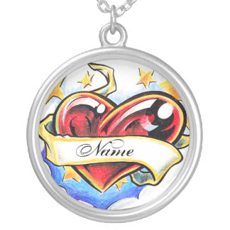 Cool Heart with name  tattoo necklace