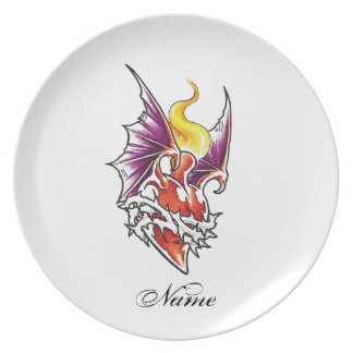 Cool Heart with Thorns and Dragon Wings Plates