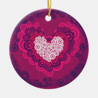 Cool Hearts Circle Pattern Hot Pink Purple Ceramic Ornament